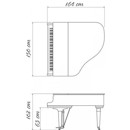 kich thuoc dan grand piano kawai kg-1e