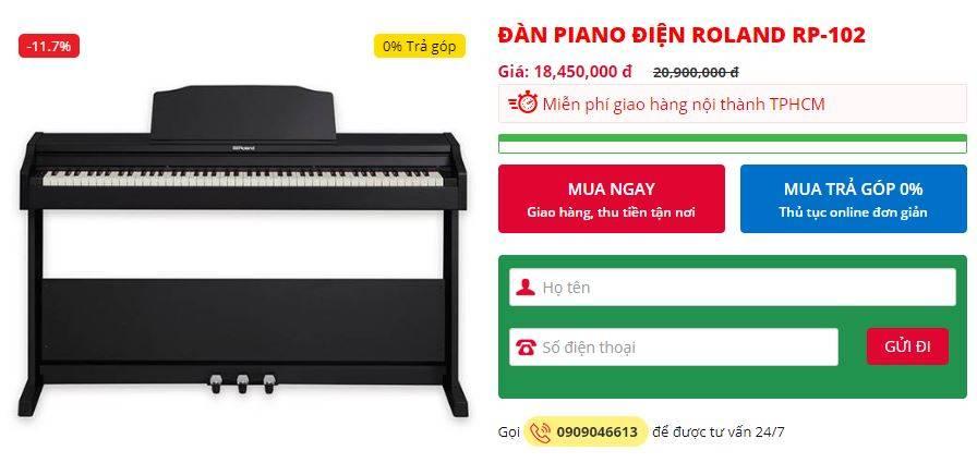 cap nhat gia dan piano roland rp 102