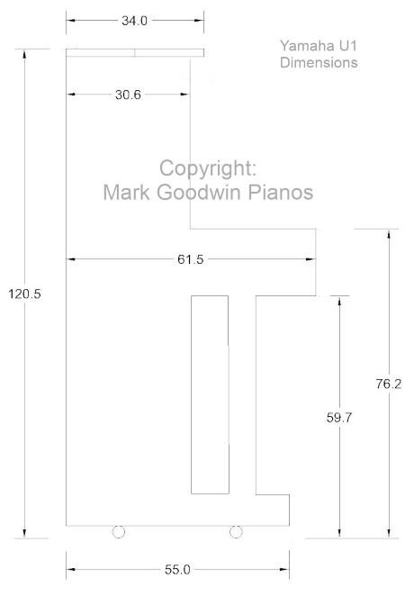 kich thuoc dan piano yamaha u1